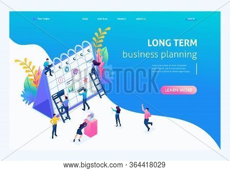 Isometric Concept Creating A Long-term Business Planning Strategy. Landing Page Concepts And Web Des