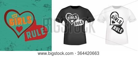 Girls Rule Slogan For T-shirt Print Stamp, Tee Applique, Fashion Slogans, Badge, Label Clothing, Jea