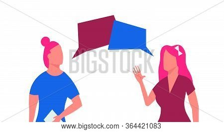 Two Women Talking Vector Flat Illustration Communication. Female Discussion Character Group Conversa