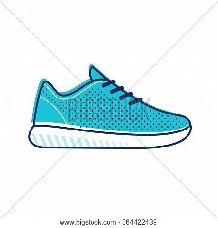 Modern Minimal Running Shoe Icon. Simple Bright Blue Mesh Top Sneaker. Isolated Vector Clip Art Illu