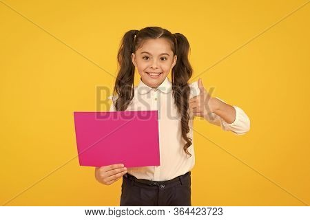 Your Advertising Gets Thumbs Up. Happy Small Child Showing Thumbs Up For Back To School Advertising