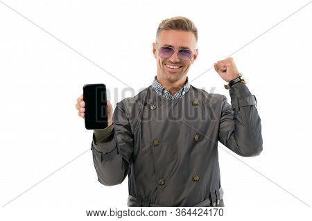Best Choice. Happy Man Hold Smartphone. Winning Communication Strategy. Communication Technology. Bu