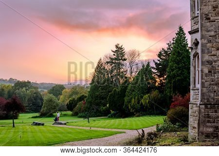 Seeing The Sunset Over A Park In Uk Coutryside