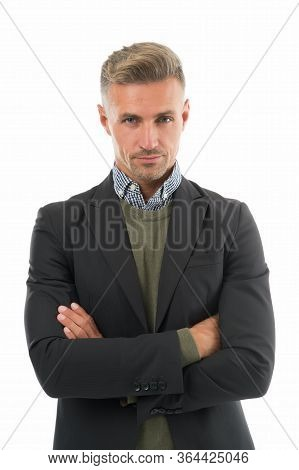Dressing To Send Confident Impression. Confident Man Keep Arms Crossed. Confident Look Of Project Ma