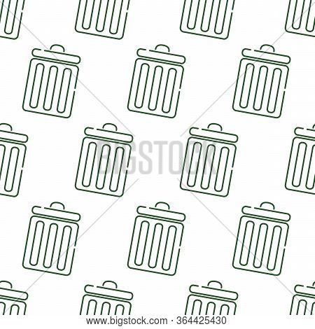 Seamless Pattern With Trash Cans On A White Background.