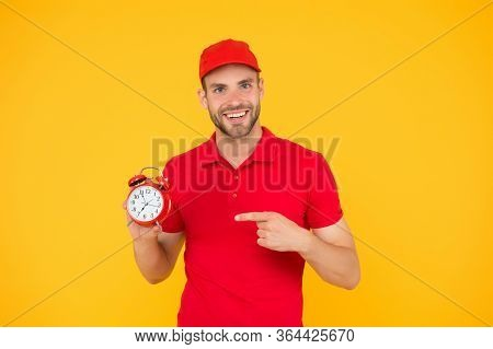 Part-time Work For Students. Full Time Work Day. Young Man Staff In Uniform. Round-the-clock Relocat