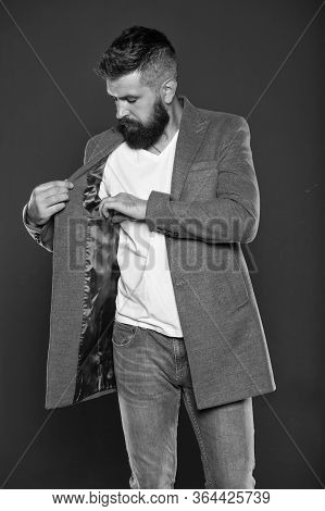 Elegance Stays In Fashion. Fashion Guy Grey Background. Bearded Man Check Pocket In Jacket. Hipster