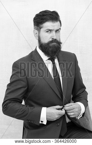 Formal And Stylish. Stylish Businessman Button Suit Jacket. Bearded Man In Office Style. Professiona