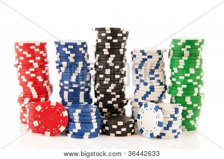 Five stacks colorful poker chips isolated over white background