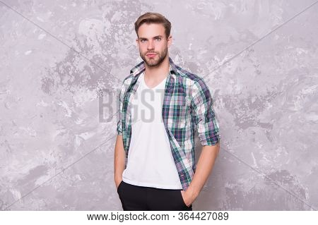 Hello My Names Single. Bachelor Man Abstract Background. Handsome Bachelor In Casual Style. Mens Sty