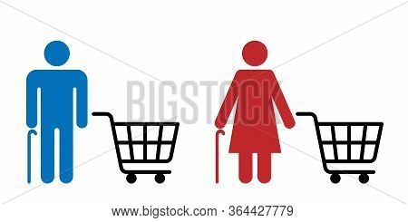 Senior Man And Woman Are Shopping In Store, Shopping Cart Line Icon. Queue To Store. Shopping Time F