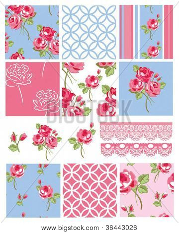Pretty Shabby Chic Floral Vector Seamless Patterns and Icons.  Use to create digital paper for scrap booking or fabric projects.