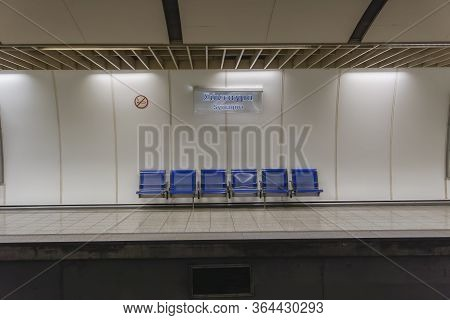 Athens, Greece - October 28 2017: Empty Metro Syntagma Station. Waiting Blue Seats Without Passenger