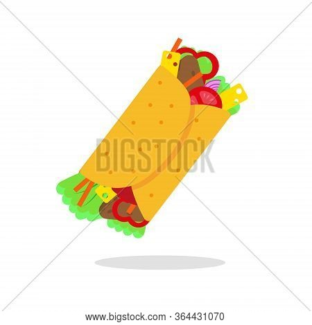 Mexican Food Vector Illustration. Burrito Icon On White Background.