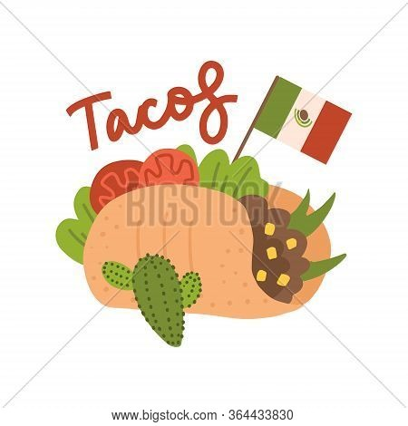 Big Tasty Taco Concept With Mexican Flag. Tacos Mexican Food. Traditional Tacos Isolated On White Ba
