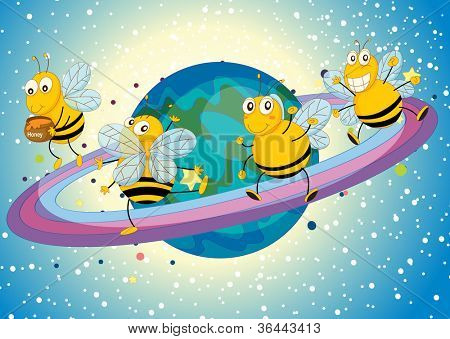 illustration of a honey bees on saturn rings