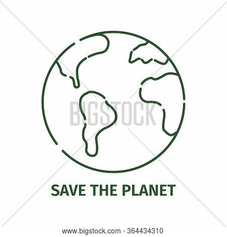 Planet Earth Icon In Outline Style On A White Background.