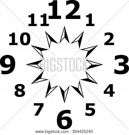 Clock Dial Big To Gigantesque  Black Numbers For The Hours On Transparent Background