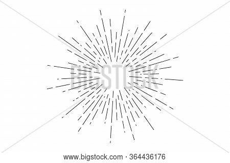 Sunburst. Light Rays, Sunburst And Rays Of Sun. Hand Drawn Black And White Design Elements, Linear D