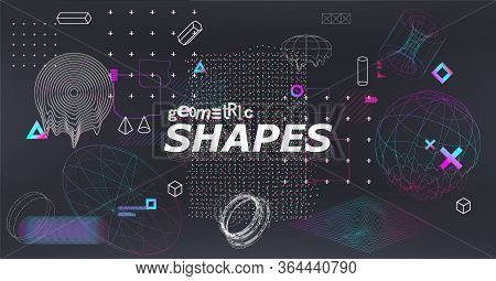 Science Fiction Abstract Elements Set With 3d Gradient Shapes And Glitched Geometric Figures. Cyberp