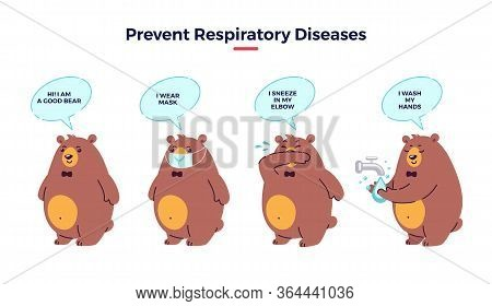 Illustration How Prevent Respiratory Diseases. Correct Sneezing And Couching Into Elbow, Washing Han