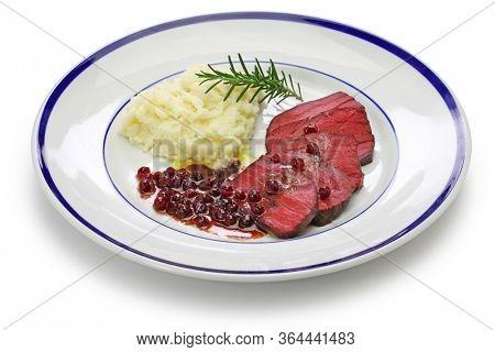 venison steak, sous vide cooking isolated on white background