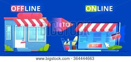 Offline To Online. Commerce Definition Banner. Shop On Site And Shop In Real Life. Involve Seo Users
