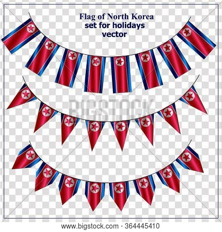 Set With Flags Of North Korea With Folds. Bright Collection With Flags Of North Korea. Vector Illust