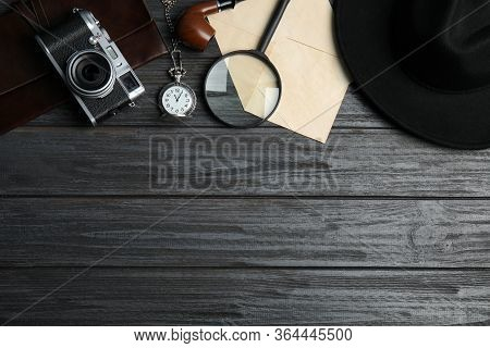 Flat Lay Composition With Vintage Detective Items On Grey Wooden Background, Space For Text