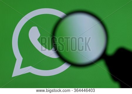 London, Uk - March 29th 2017: Whatsapp Icon Under A Microscope