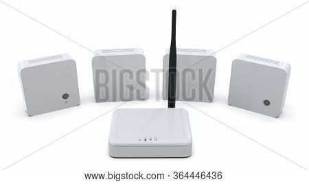 Internet Of Things Sensors And Gateway Isolated On White.3d Rendering