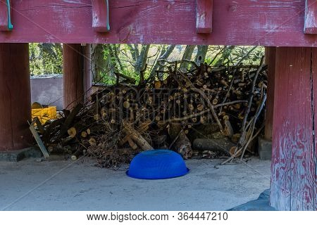 Blue Plastic Colander In Front Of Cut Tree Branches Underneath Wooden Porch.