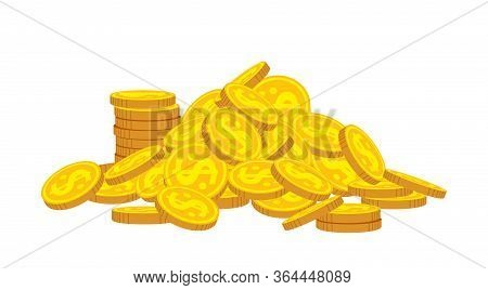 Mountain Of Gold Coins Flat Cartoon. Golden Coins Pile Heap, Bank Currency Shining Sign. Stacks Mone