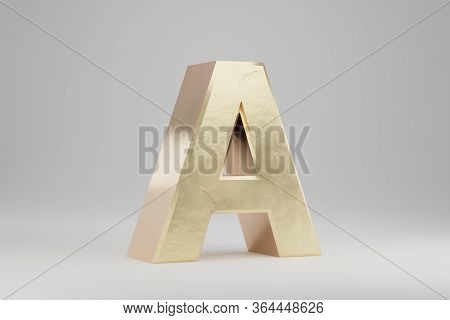 Gold 3d Letter A Uppercase. Golden Letter Isolated On White Background. Golden Alphabet With Imperfe