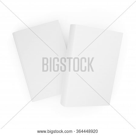 Two Blank White Hardcover Books Template Mock-up On White Background Flat Lay Top View From Above -