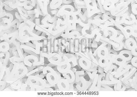 White Random Digit Numbers Heap Background Frame Filling Top View From Above, Algebra, Education Or