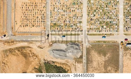 Aerial Photo Of New Cemetery Graveyard Showing The Headstones And Tombstones Of The Graves Some Are