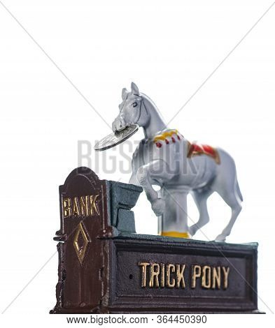 Vintage, All Metal, Hand Painted Trick Pony Coin Bank With A Turn Of The Century Silver Dollar, Isol