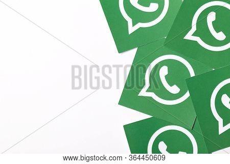 Oxford, Uk - Feb 21 2017: Whatsapp Social Media Messaging Logo Printed On Paper