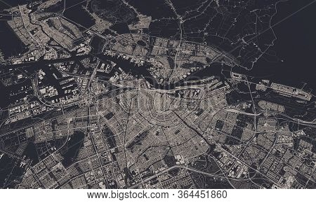 Amsterdam, Netherlands City Map 3d Rendering. Aerial Satellite View.