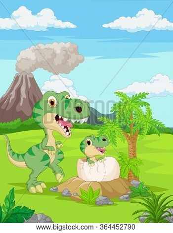 Vector Illustration Of Cartoon Mother Tyrannosaurus With Baby Hatching
