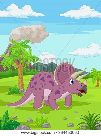 Vector Illustration Of Cartoon Triceratops In The Jungle