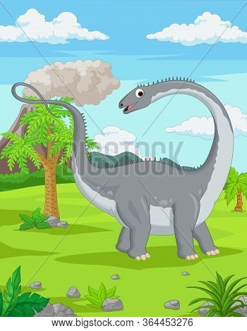 Vector Illustration Of Cartoon Dinosaur In The Jungle