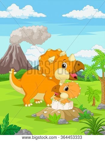 Vector Illustration Of Cartoon Mother Triceratops With Baby Hatching