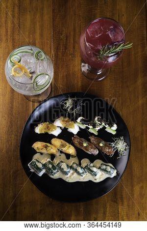 Sushi Zuko Maki With Shrimp, Cheese, Cucumber And Black Masago Caviar. Homemade Dragon Roll, Japanes