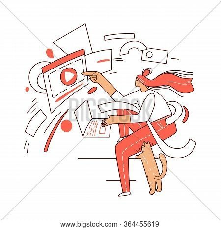 Online Education, Learning On A Laptop Vector Abstract Graphic Concept. Girl Sitting At Home In Fron