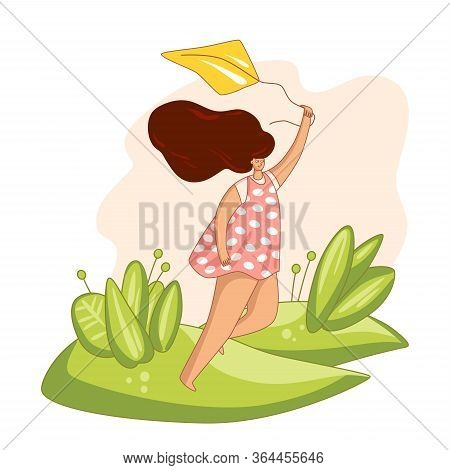 Happy Young Woman Holding Kite, Running On A Glade In Summer Time, With Cheer And Laugh. Self Care P