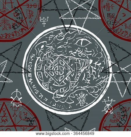 Seamless Pattern With Dragon Holding Coin, Pentacle And Mystic Symbols. Halloween Line Art Vector Il