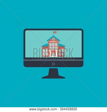 University Building With Clock And Flag Flat Vector Icon For Mobile App And Web Site. Concept Online