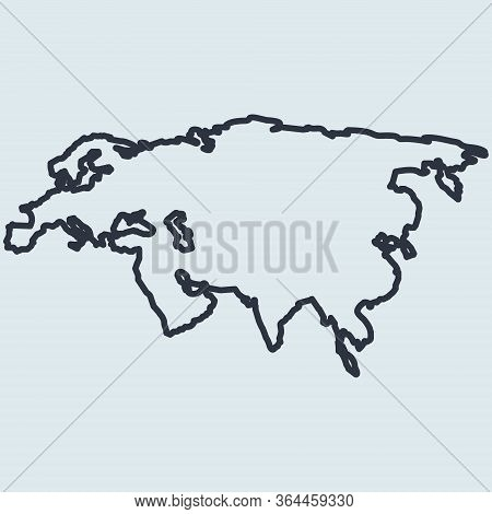 Eurasia Map Logo Line Icon. Europe And Asia. Vector Simple Symbol In Flat Style